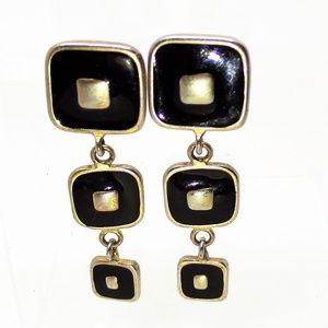 Black Enamel & Brushed Silver tone Pierce Earrings